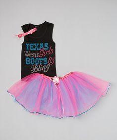 Look at this #zulilyfind! Black 'Texas Girls' Tank & Hot Pink Pettiskirt - Toddler & Girls by Beary Basics #zulilyfinds