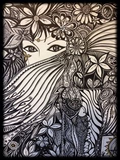 Original Abstract Art Black White & Silver Ethnic by CafeOhana