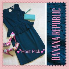 """HP NEW! Banana Republic Teal Peplum Dress 2 XS ✨HOST PICK for CLASSIC CHIC!!✨         new without tags! never worn! perfect condition! name brand: Banana Republic. size: 2 or XS (Extra-Small). color: Teal. Peplum design. Eyelet print on top half. measurements: length: 35"""", chest: 16"""", waist: 13"""", hips: 17"""". back zipper: 15"""". material: top: 100% cotton. bottom: 97% cotton, 3% spandex. Lining: 100% polyester. This dress is very beautiful & pretty! Perfect for spring and summer weather! Banana…"""