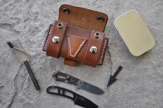 Custom Build Leather Bushcraft EDC Survival Pouch w/ Firesteel Esee Becker