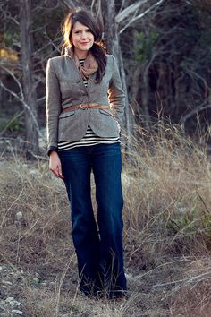 closet staples.  striped top, jeans, herringbone jacket, skinny leather belt.  Put them together and, voila!