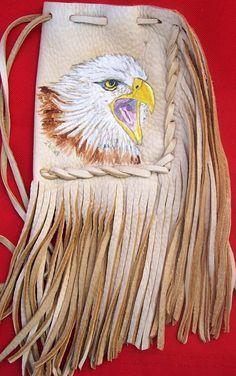 "Custom Deerskin portrait bag 75.00  pouch 5"" x 4"" length with fringe aprox 12"" kelly2wolves@yahoo.com"