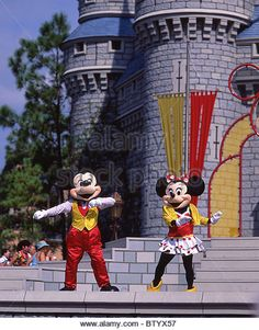 mickey and minnie at landmark   Disney World Characters Stock Photos & Disney World Characters Stock ...