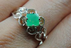 Jade ring sterling silver ring gemstone ring square by JubileJewel, $56.00