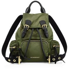 Burberry Small Nylon Rucksack ($1,210) ❤ liked on Polyvore featuring bags, backpacks, apparel & accessories, green, strap backpack, burberry bags, drawstring backpack bag, green bag and burberry backpack