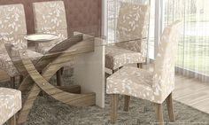 Conjunto para Sala de Jantar com Mesa e 6 Cadeiras Nogueira/Champagne/Bege Outono - Cimol | Lojas KD