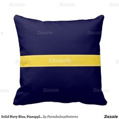 Solid Navy Blue, Pineapple Ribbon Name Monogram Throw Pillow