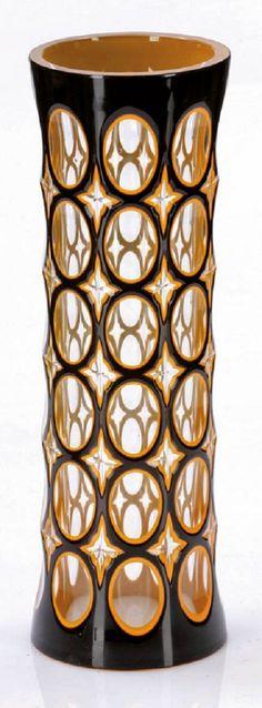 Vase - Ziersaumgläser Glasfachschule Haida und Johann Oertel & Co., Glasraffinerie Haida um 1910-1916.