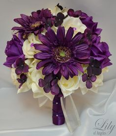 PLUM AND IVORY FLOWERS | ... Bridal Bouquet Package Decoration Silk Flower Ivory Purple Plum | eBay