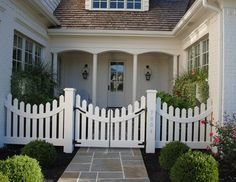 White Picket Fence & Gate | Porch Lanterns | Wood Shake Shingles | Stone Pathway | Classic Gambrel Home with Coastal Interiors