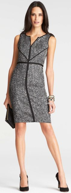 Ann Taylor Tipped Tweed Sheath Dress