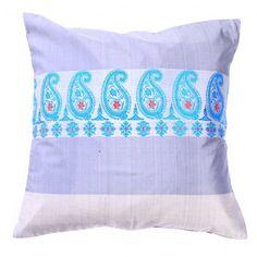 "Geometrical Baluchari Weave 100% Pure Silk Hand loom Cushion Cover - Grey 16"" x 16"" by MiharuCrafts on Etsy"
