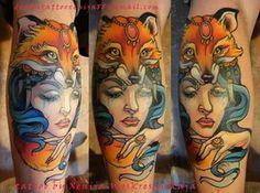 Tattoo - Shaman girl with fox head by Xenija88