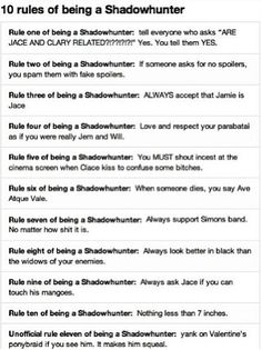 10 rules of being a Shdowhunter