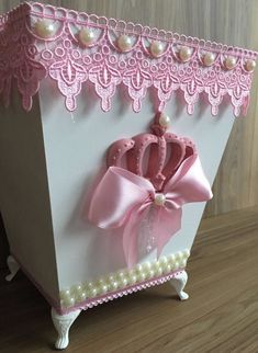 Handmade Crafts, Diy And Crafts, Cardboard Storage, Scrapbook Box, Kit Bebe, Shabby Fabrics, Baby Kit, Rustic Shabby Chic, Diy Box