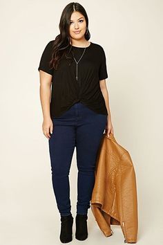 Plus Size Knot-Front Top