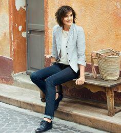 uniqlo spring summer 2015 ines de la fressange, Ines selvedge denim jeans, jeans to suit older women, uniform dressing, grown up tomboy, style blog, grey chic, alison cosier