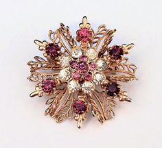 Vintage Pink Rhinestone Coro Brooch with Gold Leaves 05
