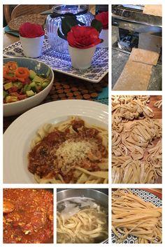Home made organic fettuccini and organic tomato and mushroom sauce. Mushroom Sauce, Homemade Pasta, Baking Recipes, Vegetarian Recipes, Stuffed Mushrooms, Organic, Meals, Cooking, Kitchen