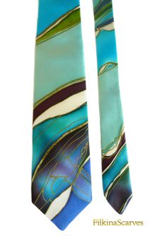Mens Silk Tie Fathers Gift Mens Necktie Abstract Lines Anniversary Gift Mens Gifts for him Hand Painted Tie Men Tie Handpainted Silk Necktie This Mens Tie is made of 100% natural SILK SATIN - Hand Painted and Handmade. Its one of a kind artist necktie - unique gifts for men An elegant Art mens necktie handpainted - abstract silk painted lines in blue, marine blue, dark brown, ivory colors and old gold color contour This hand-painted tie could be a great gift for your friend, father, broth...