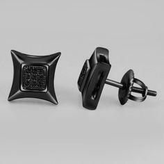 Brilliant 7MM Black Diamond 14K Black Gold Finish Kite Stud Earrings 0.07 CTW  #Bacio2jewel #Stud