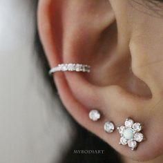 Unique & Cute Ear Piercing Jewelry Ideas for Women - Crystal Opal Star Flower Earring Stud for Cartilage, Helix, Tragus, Conch, Ear Lobe - www. 2nd Ear Piercing, Ear Piercings Conch, Cute Ear Piercings, Tragus, Cartilage Earrings, Piercing Ideas, Tongue Piercings, Dermal Piercing, Peircings