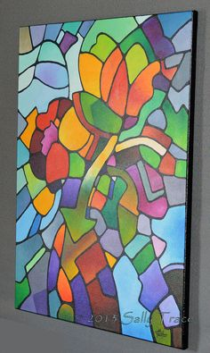 Abstract Art Giclee Print On Canvas From My Geometric Floral Original Painting Mosaic Bouquet Flowers Vase Still Life