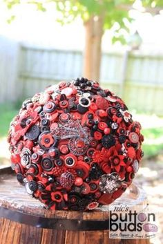 Red & Black Button Bouquet by Nic's Button Buds