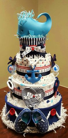 Ahoy it's a boy! Nautical diaper cake, baby shower gift. More photos on Facebook, Simply Showers