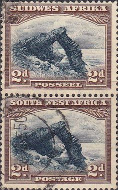 South West Africa 1931 Bogenfels Vertical Pair SG 76 Fine Used SG 76 Scott 110 Other British Commonwealth Stamps for sale here Union Of South Africa, Buy Stamps, West Africa, Stamp Collecting, Postage Stamps, Vintage World Maps, History, Design, Seals