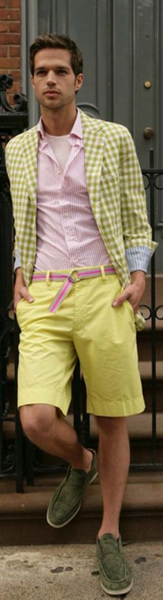Almost into Fall in the Northern Hemisphere, but don't tell that to this exciting spring look!  I really do love the color combo...the greens, the pinks (especially the belt), and the yellow.  Perhaps a direct copy is best saved for the undaunted, but you can definitely take some good color ideas if you're more timid.