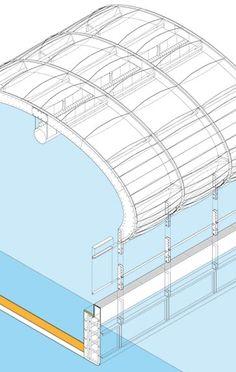 Los arcos de la estructura de madera se fijan al lateral de la gabarra mediante unas piezas de acero atornilladas, cuya unión queda sumergida y por tanto invisible en verano.