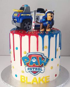 🥳 Blake's birthday Paw Patrol cake and cupcakes 🥳 by Flour Room Torta Paw Patrol, Paw Patrol Cupcakes, Paw Patrol Birthday Cake, Paw Patrol Bone Cake, Paw Patrol Chase Cake, Funny Wedding Cake Toppers, Vintage Cake Toppers, Snowflake Wedding Cake, Special Birthday Cakes