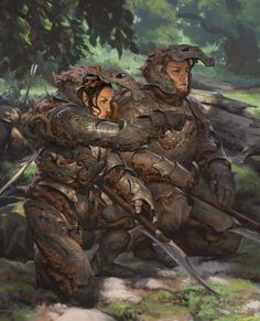 f Fighters Plate Armor Helm Swords Royal Army Patrol eastern border Deciduous forest hills road story closeup med Fantasy Armor, Medieval Fantasy, Sci Fi Fantasy, Dark Fantasy, Fantasy Character Design, Character Design Inspiration, Character Art, Dnd Characters, Fantasy Characters