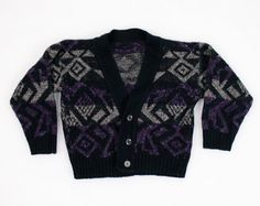 Vintage Cosby Sweater Purple Black New Wave by ShopTwitchVintage, $12.00 #vintage #etsy #toddler #boy #girl