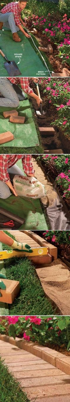Tutorial on brick grass edging.