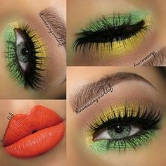 Photo: Hey Luvs!! Here's my newest look, inspired by my friend Jamila's hot creation. It reminded me a bit of Brazil & the soccer worldcup, so I decided to recreate ☺ Products used: ~ Motives by Loren Ridinger Eye Base (perfect for bright looks like this) ~ BH Cosmetics 120 Eyeshadow palette first edition ~ tarte cosmetics lights, camera, lashes precision eyeliner & Mascara ~ Milani Liquideye liquid like eyeliner in Black (best drugstore eyeliner pen for the waterline!!) ~ House of Lashes…