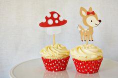Sweet Deer Cupcake Toppers #deer #woodland #party