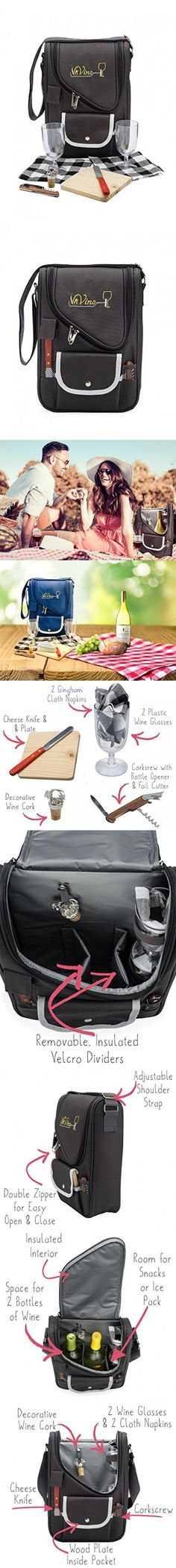 VaVino Wine and Cheese Picnic Set Bag (Charcoal Gray) 9-Piece Deluxe Set with 18-Hour Insulation - Fits 2 Bottles and Everything You Need for a Romantic Picnic for 2. Great Gift for Wine Lovers!