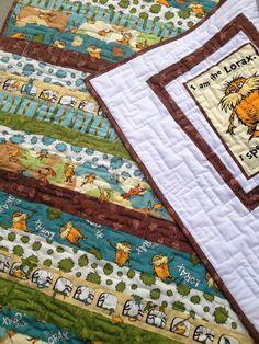 "Baby Quilt Reversible Dr. Seuss ""The Lorax"" Handmade crib blanket"