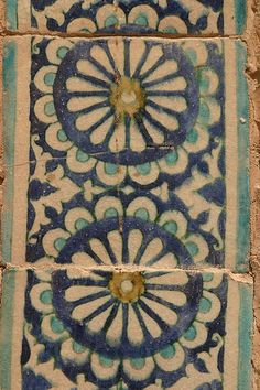 """""""Tiles must be the most impressive of Uzbekistan's decorative mediums, and tile making reached its peak during the Timurid era. Soft clay tiles were individually carved, painted, fired and glazed, their colours derived from ground lapis lazuli and turquoise, yellow ochre and burnt sienna, terra verde and red iron oxide."""" Uzbekistan: The Bradt Guide www.bradtguides.com"""