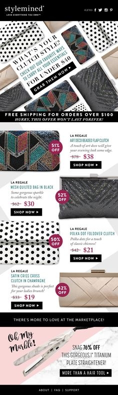 fashion email | email design | fashion newsletter | design | email | email marketing | email inspiration | e-mail | fashion eblast design | ecommerce | email design inspiration | clutches