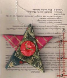 Please note: Any Christmas items purchased now may NOT arrive by December 24th. Star Christmas ornaments, fabric star, country cottage Christmas, Christmas decor, Christmas star, red green gold silver stars, tree decorations A set of five (the five pictured) Christmas tree ornaments in the shape of trees, created from a variety of folded Christmas fabrics in red, blue, green, white, silver and gold. They have a silver hanging loop, and a red or green vintage button tied in the centre…