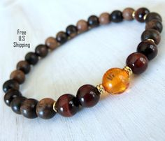 Mens healing & strength Baltic Amber, Red tigers eye, Tigerwood Mala bracelet, Reiki Charged, Energy bracelet, free shipping