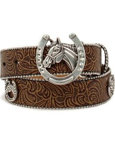 Give your little cowgirl a belt that she'll treasure for years to come with the Floral Embossed Horsehead Belt from Ariat. Cowgirl Style Outfits, Country Style Outfits, Rodeo Outfits, Cowgirl Fashion, Fashion Edgy, Rodeo Belt Buckles, Cowgirl Belts, Cowgirl Clothing, Gypsy Cowgirl