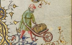 Douce 62 f. Medieval Life, Medieval Art, Statues, Renaissance, Medieval Crafts, Medieval Furniture, Early Modern Period, Late Middle Ages, Wheelbarrow