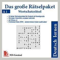 DaF - Kreuzworträtsel, Arbeitsblätter, Übungen