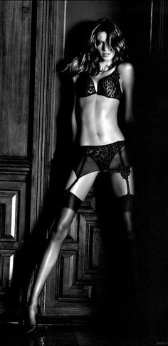 - inspiration for SexyMuse.com - Gisele Bundchen, Black and white, model, lingerie photography.
