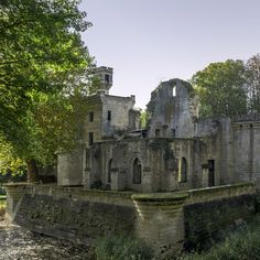 Aisne, Picardy, France - Septmonts Castle was built in the 13th century by Jacques de Bazoches, Bishop of Soissons, as his summer residence. Later in the 17th century the Bishops of Soissons ceased to reside here, it was abandoned and fell to ruin. Today there is an Association of Friends of Septmonts which safeguards and maintains the site.