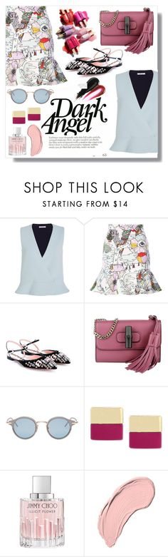 """""""Untitled #6444"""" by cherieaustin ❤ liked on Polyvore featuring Carven, Mary Katrantzou, Rochas, Gucci, Thom Browne, Vince Camuto, Cochrane, Jimmy Choo and NYX"""